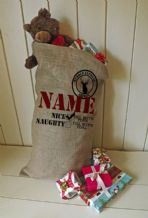 Personalized Naughty or Nice Large Father Christmas Xmas Santa Sack / Stocking Bag Jute Hessian